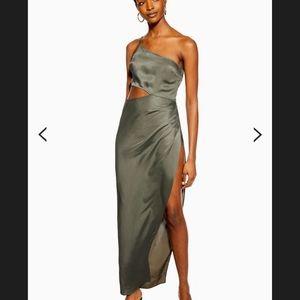 Topshop Satin Super Split Maxi Dress Khaki